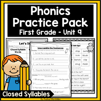 Phonics Practice Pack First Grade Unit 9 - Closed Syllables