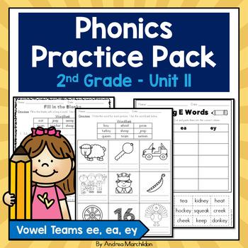 Phonics Practice Pack - Unit 11 Second Grade Vowel Teams ee, ea, & ey