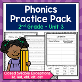 Phonics Practice Pack Unit 3 Second Grade - Closed Syllable Exceptions