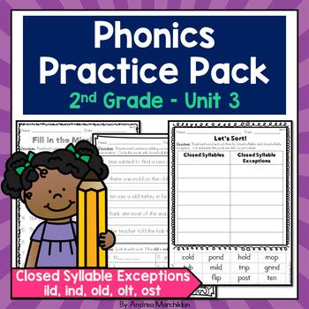 Phonics Practice Pack Unit 3 Second Grade - Closed Syllabl