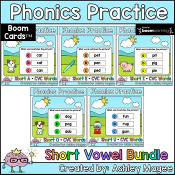Phonics Practice Short Vowels Boom Cards Bundle
