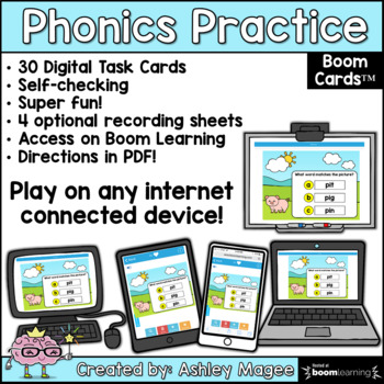 Phonics Practice Short i CVC Words - Boom Cards