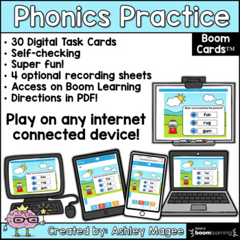 Phonics Practice Short u CVC Words - Boom Cards
