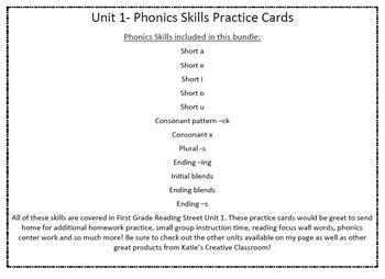 Phonics Practice Word Cards (Reading Street) COMPLETE 1st GRADE SET!!