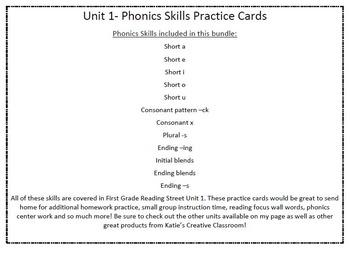 Phonics Practice Word Cards (Reading Street) COMPLETE 1st GRADE SET!!