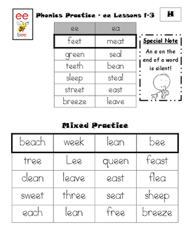 Phonics Practice - ee sound (CKLA First Grade Skills Unit 2 - Lesson 1 and 2)