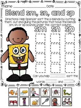 Phonics Print and Go: Cut, Sort, and Glue