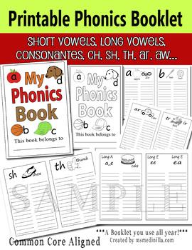 Phonics Printable Booklet  Reading Foundation Skills RF.1.3.A RF.2.3