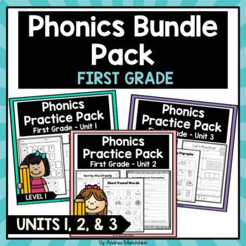 Phonics Printable Bundle Pack First Grade Units 1, 2, & 3