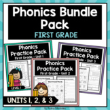Phonics Printable Bundle Pack First Grade Units 1, 2, & 3