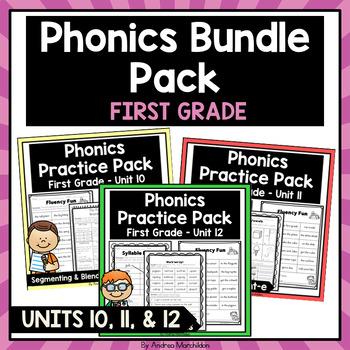 Phonics Printable Bundle Pack First Grade Units 10, 11, & 12