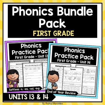 Phonics Printable Bundle Pack- First Grade Units 13 & 14