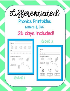 Differentiated Phonics Printables - Letter Name & CVC
