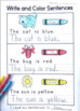 Phonics: Printing Simple Sentences with Color Words (from Phonics Bundle 3)