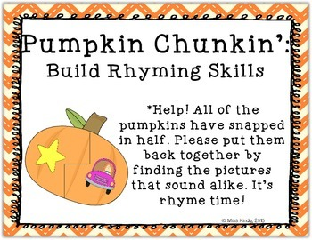 Literacy Center Puzzle: Pumpkin Rhyming Activity Word Work