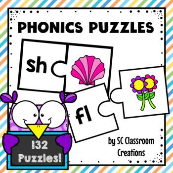 Phonics Puzzles Matching Activity- blends, digraphs, vowels