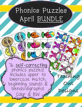 Phonics Puzzles April: Color & blackline!