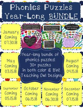 Phonics Puzzles YEAR LONG BUNDLE!