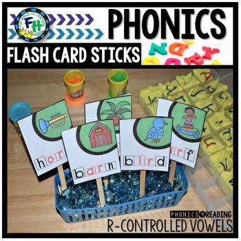 Phonics R-Controlled Vowel Flash Card Sticks