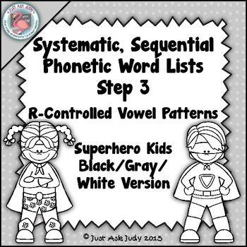 Phonics Word Lists with R-Controlled Vowel Patterns Superhero Theme