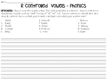 Phonics - R Controlled Vowels