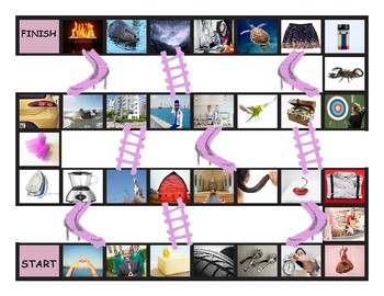 Phonics R Controlled Vowels ar-or-er-ir-ur Photo Chutes-Ladders Game