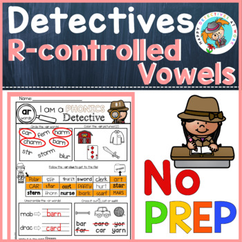 Phonics: R-controlled Vowels, no prep worksheets (detective theme)