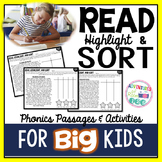 Phonics - Read, Highlight, Sort Passages