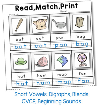 Phonics Read Match and Print - CVC Picture Sorting (from Phonics Bundle 3)