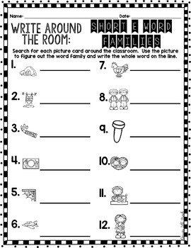 Phonics Read/Write Around the Room: Short Vowel E Word Famiies