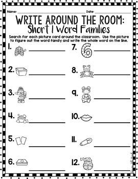 Phonics Read/Write Around the Room: Short Vowel I Word Famiies