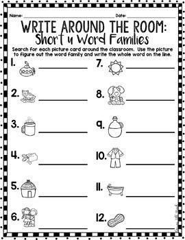 Phonics Read/Write Around the Room: Short Vowel U Word Famiies
