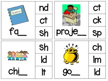 Phonics Read & Clip – Final Blends – Phonics & Fine Motor Skills (52 cards)