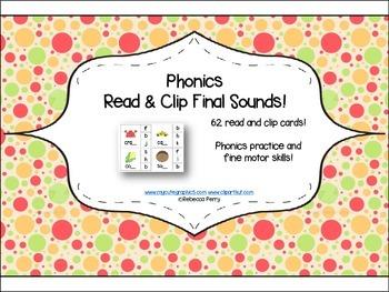 Phonics Read & Clip – Final Sounds – Phonics & Fine Motor Skills (62 cards)