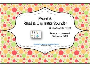 Phonics Read & Clip – Initial Sounds – Phonics & Fine Motor Skills (42 cards)