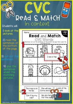 Phonics Read and Match, BUNDLE 1 (CVC,CCVC,CVCC,CVCe,Blends)