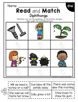 Phonics Read and Match (Diphthongs edition)