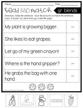 L, S, & R Blends Read and Match Sentences {Cut and Paste}