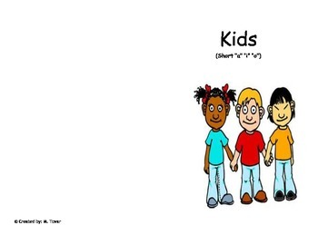 "Phonics Reader short ""a,i,o"" Title: Kids"
