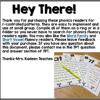 Phonics Readers- R-Controlled