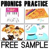 Phonics Reading Activities (CVC word work) - Free Sample