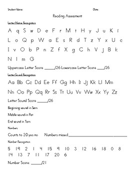 Phonics/Reading Assessment Form
