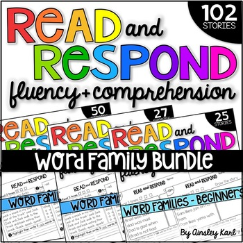 Phonics Reading Passages - Fluency & Comprehension - Word Families BUNDLE
