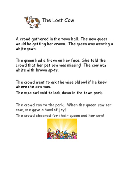 Phonics Reading Practice for ow - The Lost Cow