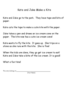 Phonics Reading Practice for vce patterns - Kate and Jake Make a Kite