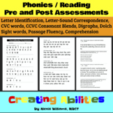 Phonics & Reading Pre- & Post-Assessments (Beginning of Ye