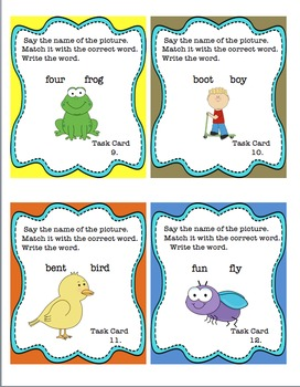 Back to School  Review Sight Words Guided Reading Phonics Task Cards