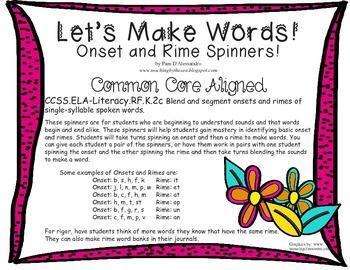 Phonics Rhyming Spinner Common Core ELA Literacy RF.K.2c