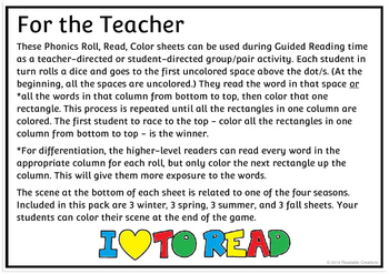 Phonics Roll, Read, Color Game Sheets