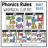 Phonics Rules Clip Art Bundle 3 (5 Complete Sets)